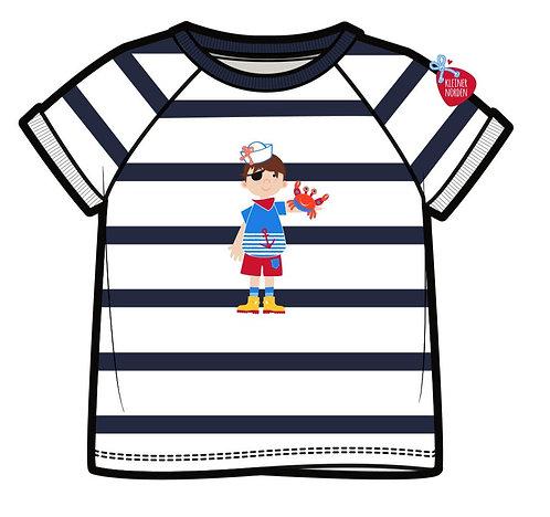 Kinder T-Shirt, maritim Küstenpirat/in gestickt