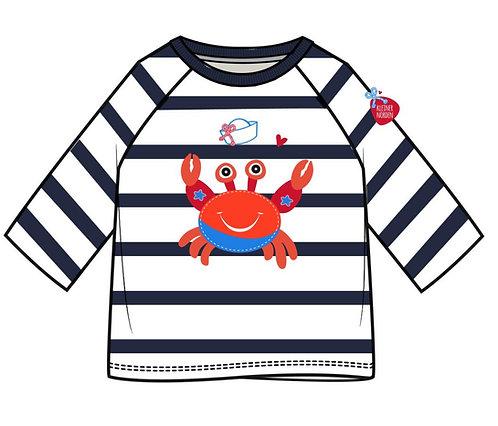 Kinder Shirt, langarm, maritim Krabbe, Krebs gestickt vom Kleinen Norden