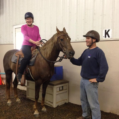 Both hips replaced & first time back in the saddle on Avatar's Roxanne with my trainer, Rick Schmitt