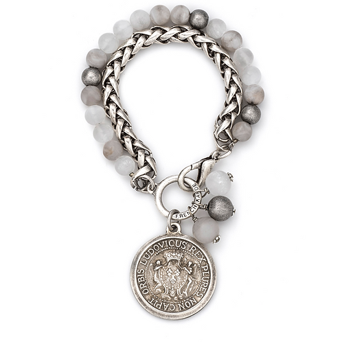 French Kande double strand bracelet with Expo medallion