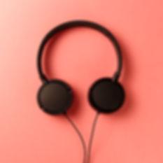 Headphone. Music concept. Flat lay: head