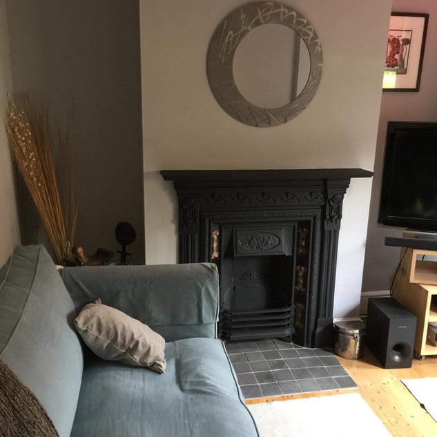 Fire place painted in black
