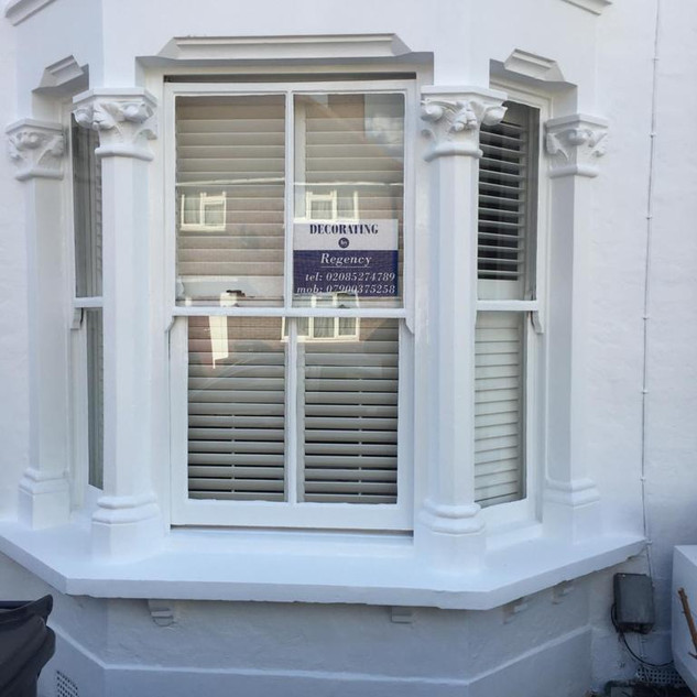 Exterior window frames painted white