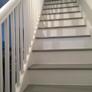 Stairs painted white and grey