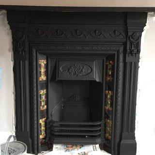 Fire place painted black