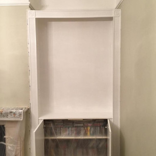 Shelving unit painted in white