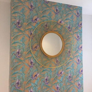 Applied exotic wallpaper to create a feature wall