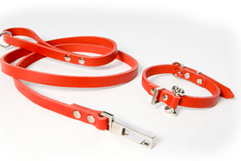 SILVER BONE RED LEATHER COLLAR & LEAD SET