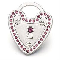 Silver heart padlock tag