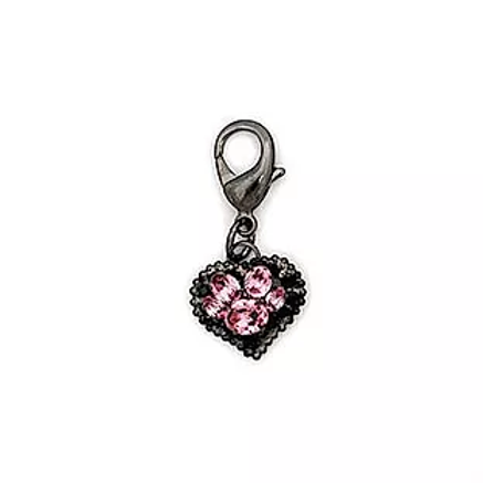 PINK CRYSTAL HEART & PAW CLIP