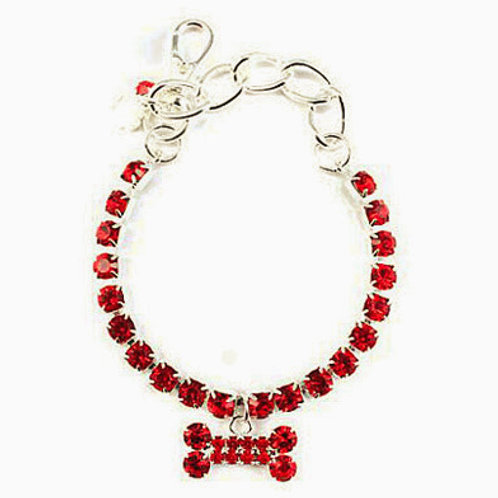 RED CRYSTAL SINGLE ROW WITH HANGING BONE NECKLACE