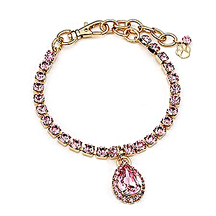 Pink crystal pear drop necklace