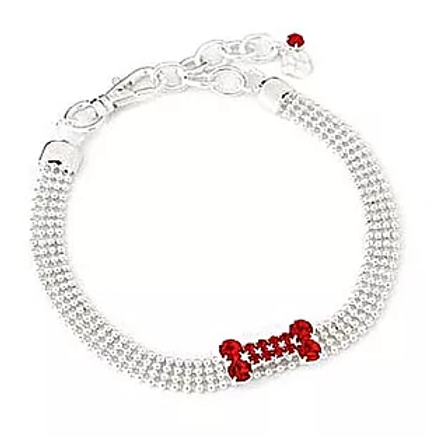 RED CRYSTAL BONE BEADED NECKLACE