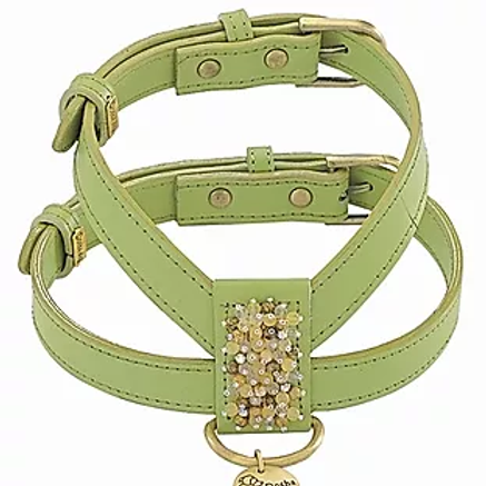 GREEN BEADED LEATHER HARNESS