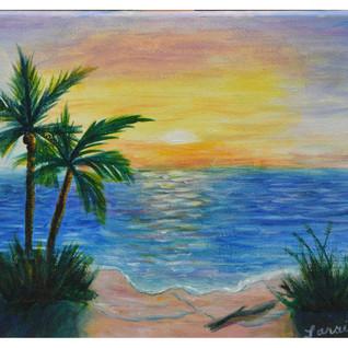 Laraines Beach and sunset 1 at artspace4