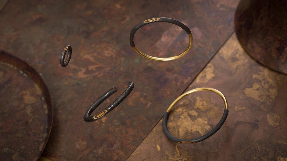 Reverse 逆物論環形手環 Mokume-gane Bangle (Round)