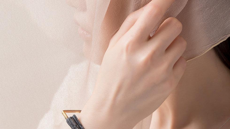 Calligraphy 墨摺 破體手環 Oxidized Silver Bangle/Bracelet - Breaking
