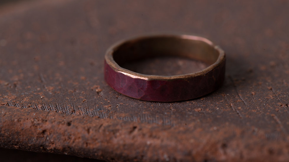 熔岩紅 經典錘目 紅銅戒指 HammeredHead Ring
