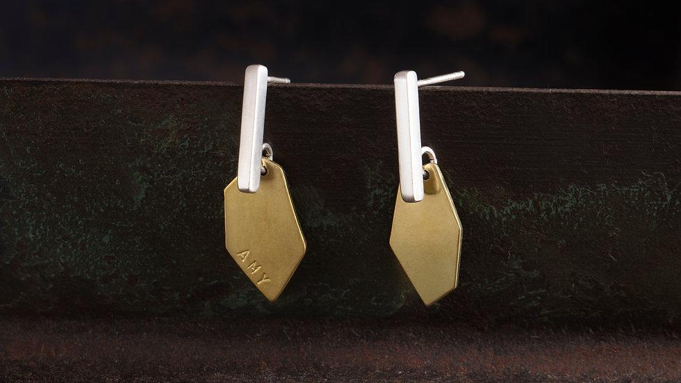 礦石 純銀拼接紅黃銅 耳環 Ore Earrings