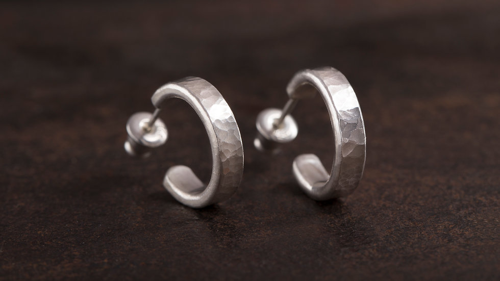 經典錘目 純銀耳環 HammeredHead Earrings