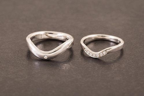 真鑽純銀雙人婚戒 (價格依款式而異)