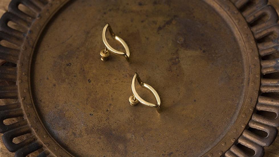Eye-rolling & Stubborn 執拗與白眼 黃銅耳環雙折 Brass Ear Studs