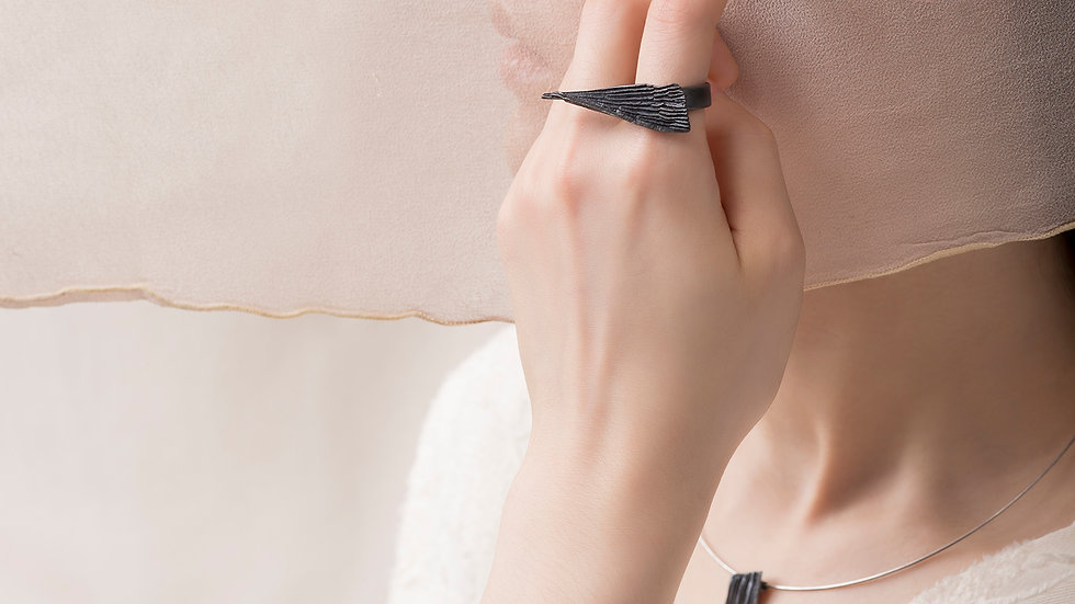 Calligraphy 墨摺 飛轉戒指 Oxidized Silver Ring - Turning