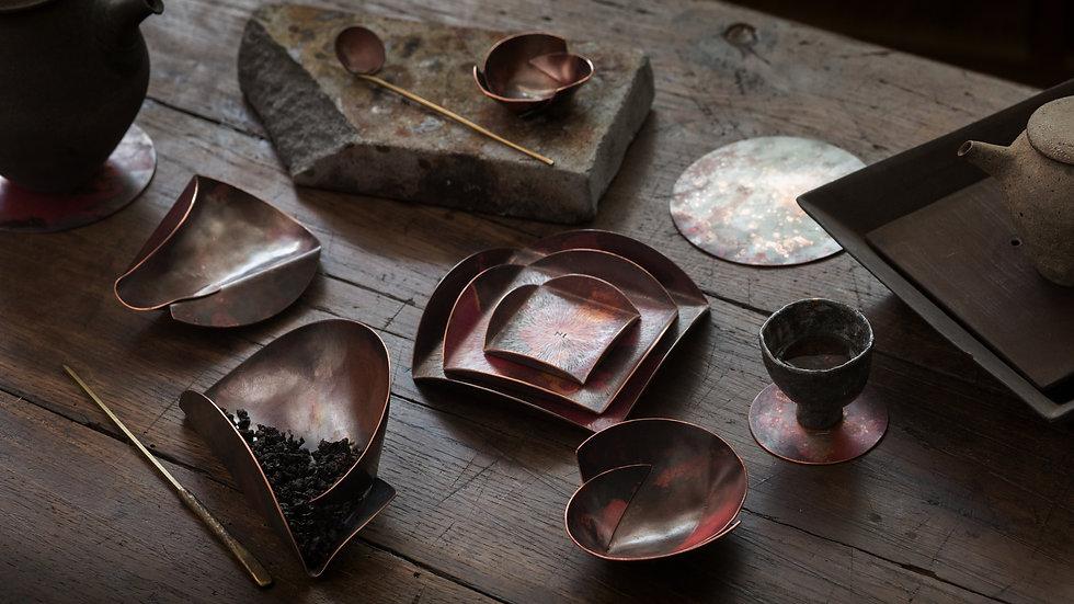 Chadō - 分則合皿 - 無分盤 Tea Plate large Copper Forging Tea Ceremony Plate