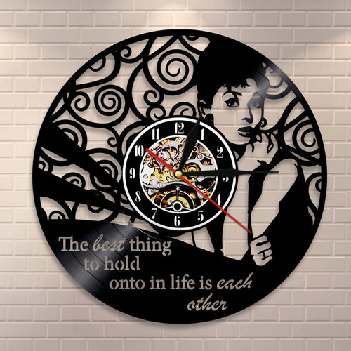 Modern Unique Design Audrey Hepburn Vinyl Record Clock