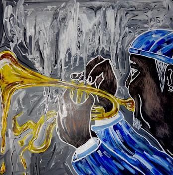 Trompetas Infernales. Acrylic on Wood.