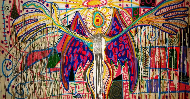 Angel Apunto de Morir. Mixed Media.
