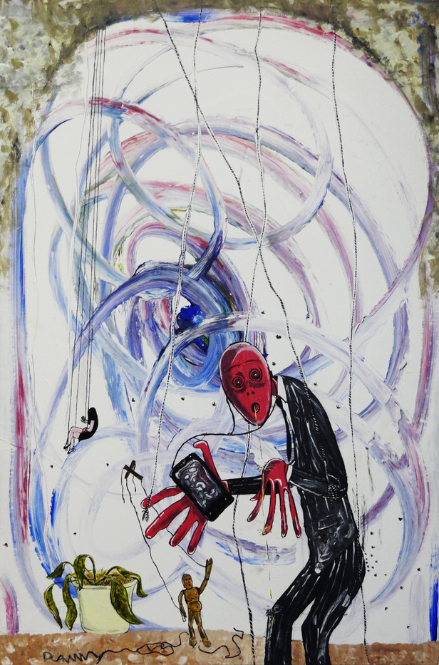 Slave of Cellphone. Acrylic on Canvas.