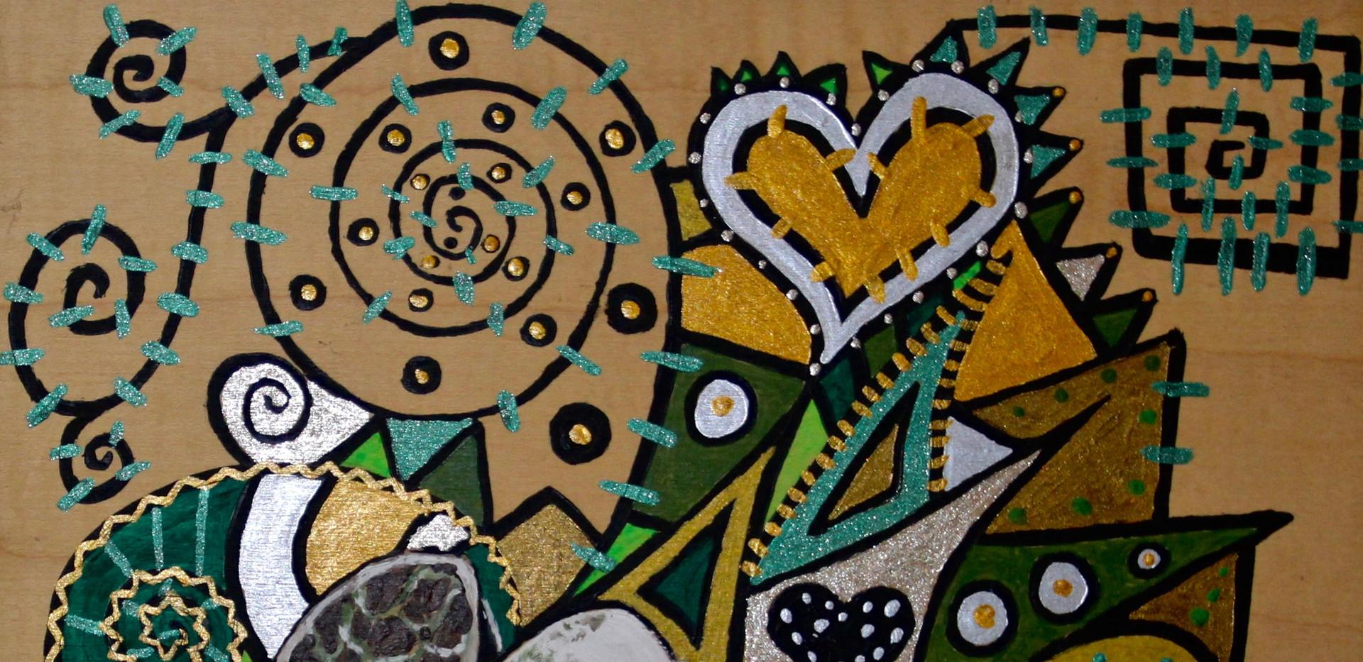 Cannabis Seed. Acrylic on Wood.