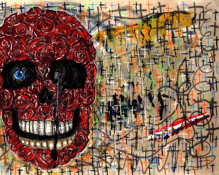 Calavera de Rosas. Mixed Media on Canvas