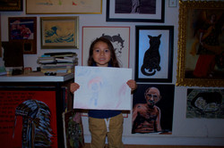 Nephew and his first painting