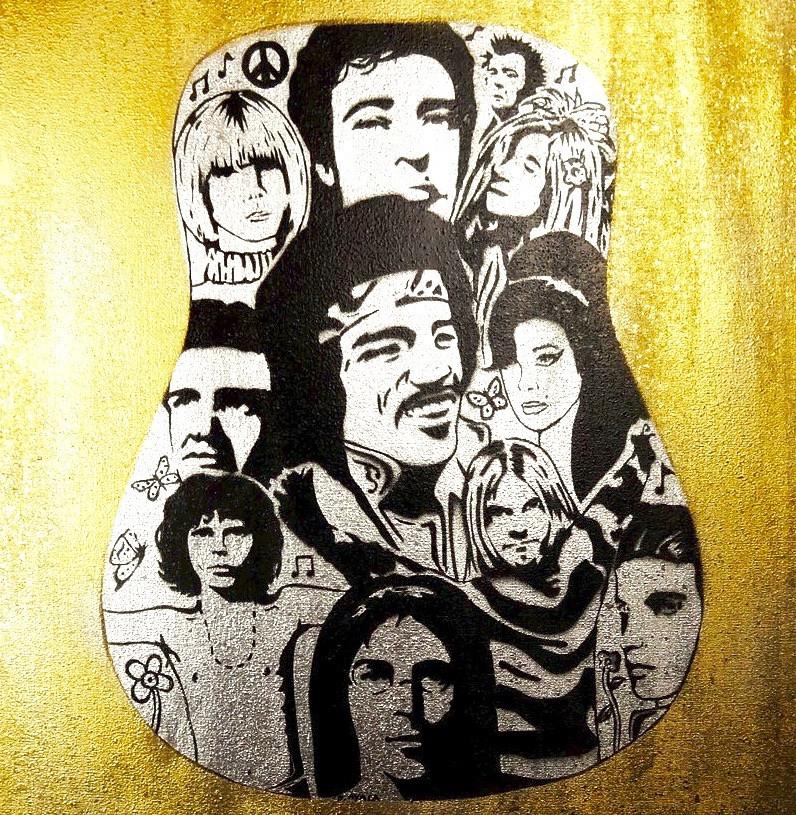 Dead Rockers. Stencil on Canvas.