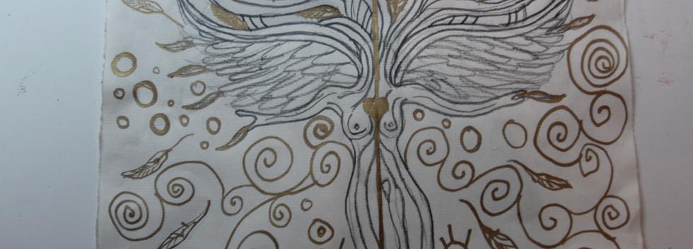 Angel Tree. Ink on Paper.