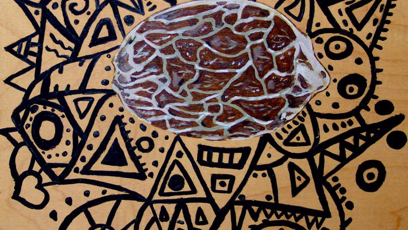 Hybrid Seed. Acrylic on Wood.