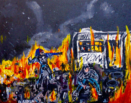 Protesting series. Mixed Media on Wood.
