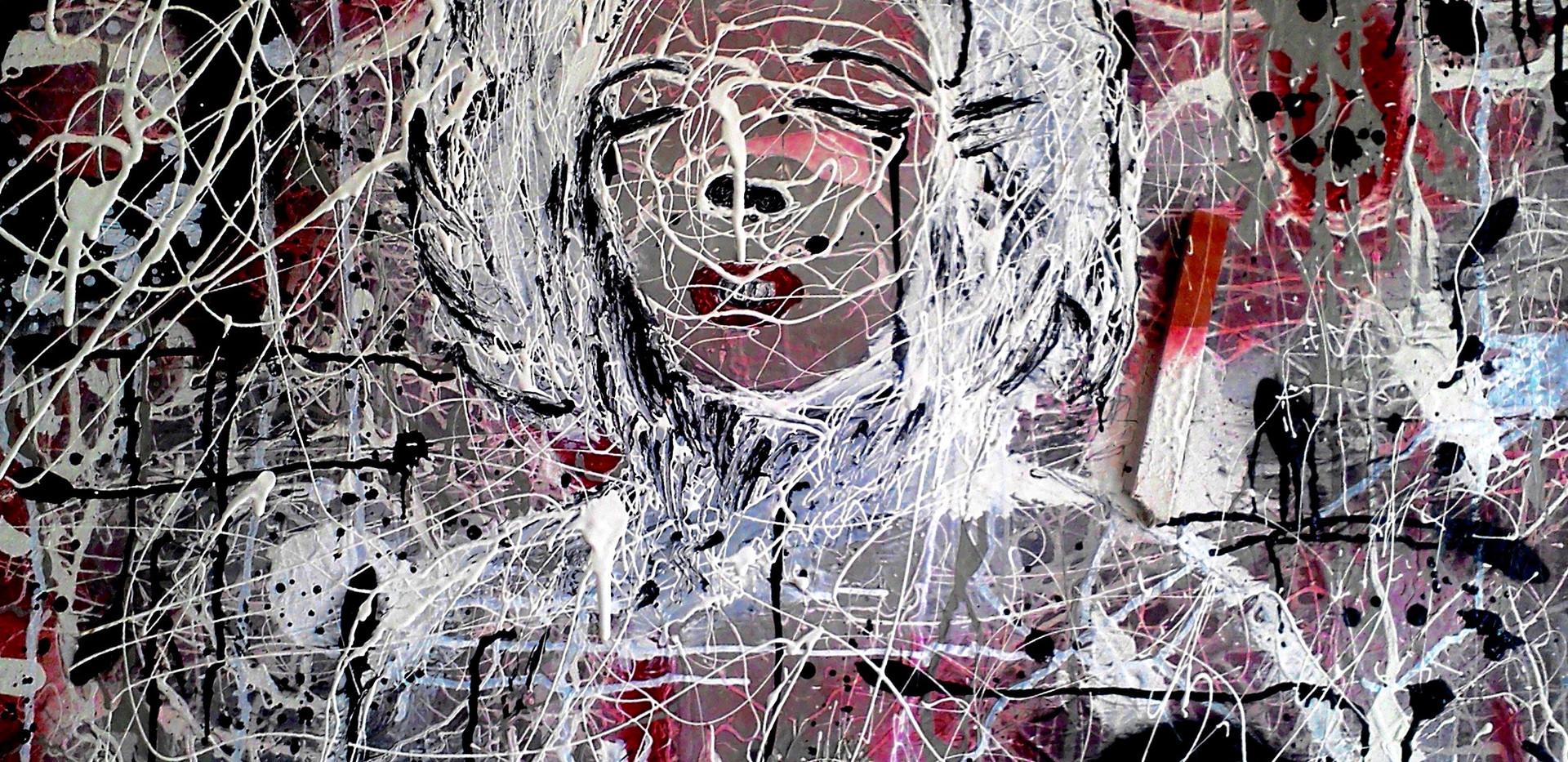 Marylin Portrait. Construction paint on