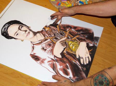 Artist hands working.