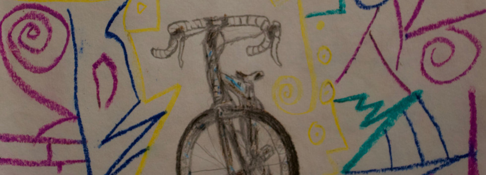 Bicicleta Sketch. Pencil and oil sticks on Paper