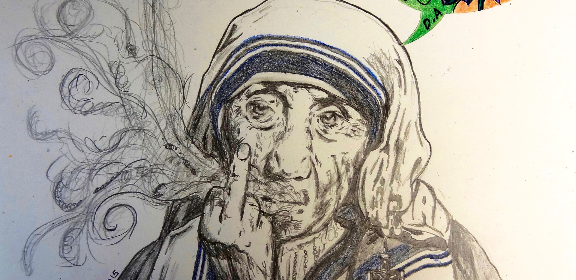 La Madre Teresa Loqueando. Pencil on Paper.