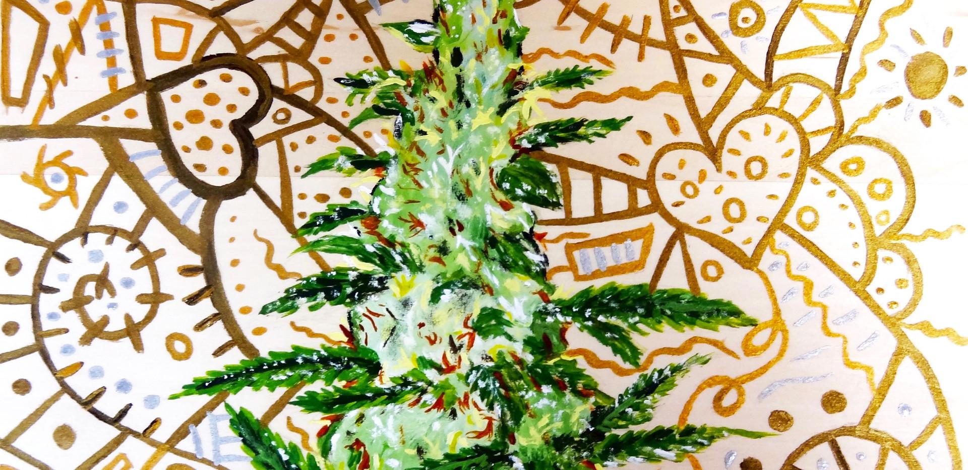 Cannabis Hybrid. Acrylic on Wood.