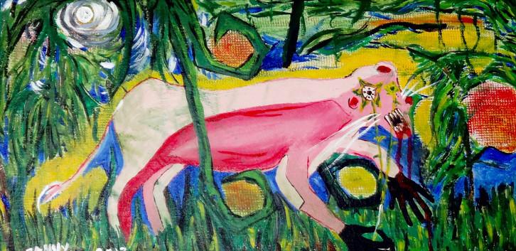 La Pantera Rosa. Mixed Media on Canvas.
