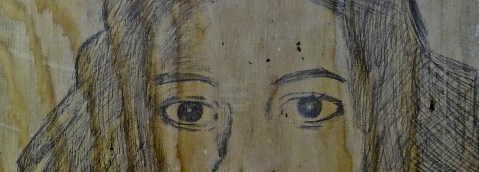 Basquiat. Pencil on Wood.