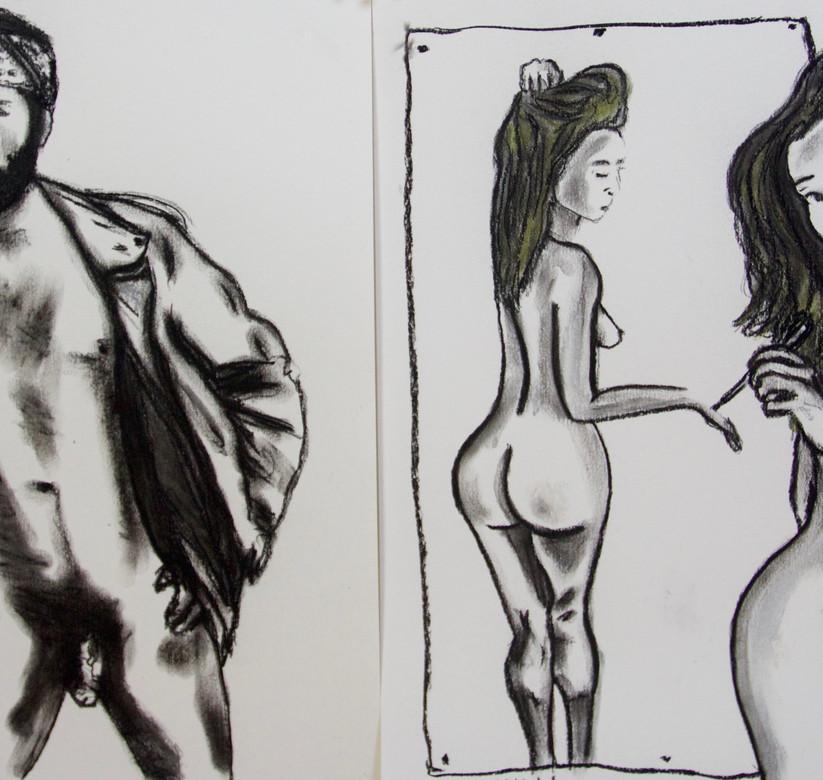Pastel drawings on paper