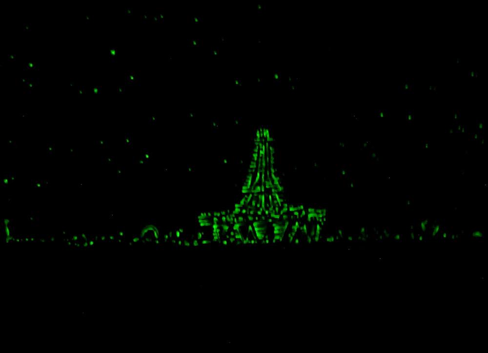 Burning man temple glow in the dark