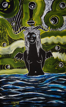 Nymph in The Midnight. Acrylic on Board.