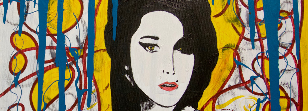 Amy Winehouse Portrait. Mixed Media on Canvas.
